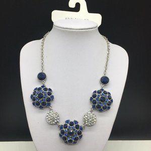 NEW Ann Taylor Factory Blue Rhinestone Necklace